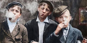 Paperboys on smoke break, circa 1910