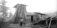 Three bedroom tree stump house in Vancouver, ~1900,