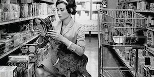 Audrey Hepburn shopping with her pet Deer therabouts 1958