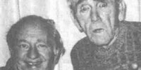 The last image taken of Larry and Moe of the Three Stooges together.