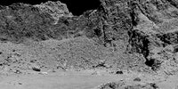This is the world's first picture of the surface of a comet, taken today by the Rosetta space probe shortly before crash-landing into Comet 67P.