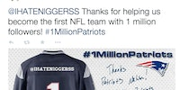 The Patriots set up an automatic tweet to go out at 1 million followers. #neverforget