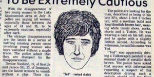 A newspaper clipping from 1974 warning young women about Ted Bundy