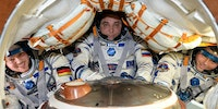 Astronauts returning home from the ISS aboard a not so spacious Soyuz capsule