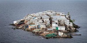 Migingo Island, a 0.0008 sq mi dirt mound with 131 inhabitants