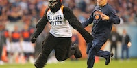 A guy wearing a gorilla suit and an All Lives Matter t-shirt ran on the field during the Bears vs. Lions NFL game.