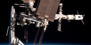 Space shuttle Endeavour docked at the ISS