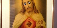 "Apparently putting googly eyes on my parents portrait of Jesus is ""not funny"" and ""blasphemous"""