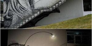 This mural by Skurk is as eerie as it is cool