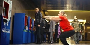 Subway ticket machine in Moscow accepts 30 squats as its payment.