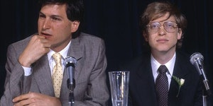 A young Bill Gates with Steve Jobs, 1985
