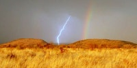 Seeing lightning and rainbow at the same time in Africa.