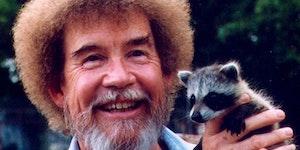 Bob Ross holding a baby trash panda