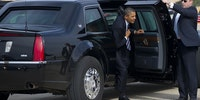 This angle of the 'Cadillac 1' (Presidential vehicle) shows just how big it is.