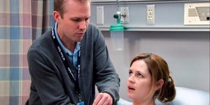 Jenna Fischer's husband appeared in one episode of The Office. He was the lactation consultant.