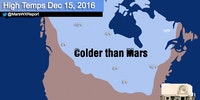 Much of Canada and the upper midwest forecasted to be colder than Mars today