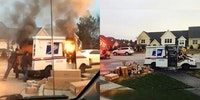 A USPS truck caught fire and the postal worker rushed to save all of the packages from catching fire.