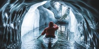 Paddling inside a glacier, Austria