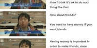 A South Korean kid talking about money