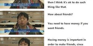 A South Korean kid talking about money