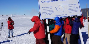 Annual 10m move of the geographic South Pole, because of the daily 2.7cm offset of ice sheet over bedrock 2km below