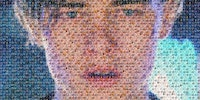A picture of leonardo di caprio crying, made out of pictures of oscar winners