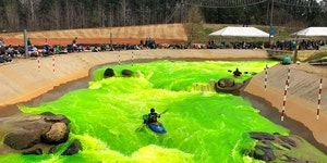 The U.S. National Whitewater Center turned the water green for Some reason.