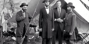 A rare photo of the President taken with war correspondent Brian Williams