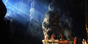 A Buddhist temple inside a cave.