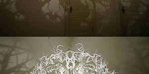 Chandelier turns room into a forest.