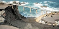 Bridge collapse due to massive land mass washing away underneath it in California