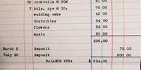 Cost of a wedding  circa 1957