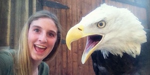 Selfies with a bald eagle.