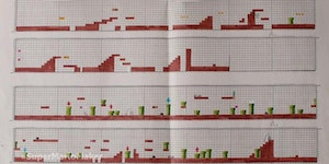 The original Super Mario Bros. game designed on graph paper