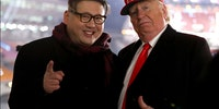 Donald Trump and Kim Jong-un impersonators that were thrown out of Winter Olympics opening ceremony