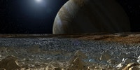 Artist's concept of Jupiter as seen from Europa's surface