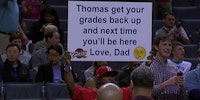 Dad of the Year candidate at the Cavs vs Hornets game