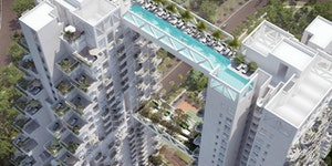 Two skyscrapers connected by a pool bridge