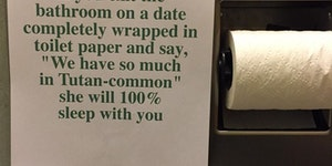 Dating tip in the bathroom of a fancy restaurant