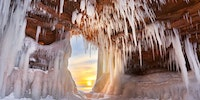 Ice cave on lake superior, WI.