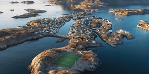 This football pitch in the Lofeten Islands, Norway