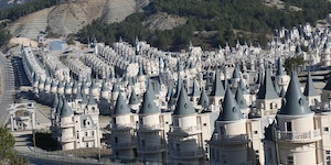 Identical, abandoned chateaus in Turkey that were built by a real estate developer who went bankrupt, naturally.