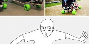 Skateboard baby stroller [fixed]
