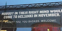 A sign by the airport in Helsinki, Finland