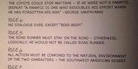 Original Rules For Wile E. Coyote