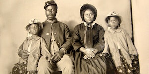 American Civil War Soldier with his wife and daughters circa 1863
