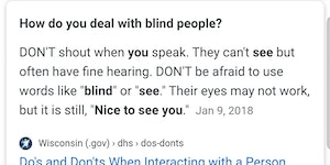 It's OK to interact with blind people.