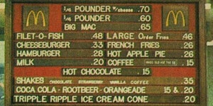 Mcdonald's menu in 1972.