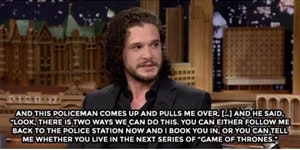 Jon Snow does know how to deal with cops. GoT spoilers