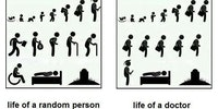 Life of a random person vs. life of a doctor.